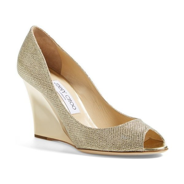 JIMMY CHOO baxen wedge pump - A sculpted wedge cast in polished metal lifts a...