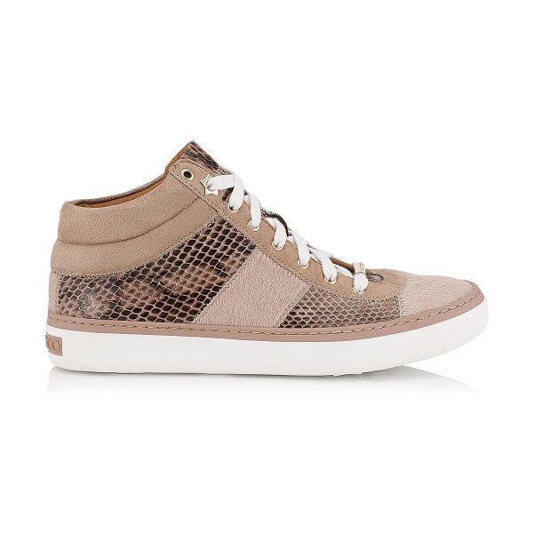 Jimmy Choo Bells ballet pink pony, elaphe and suede trainers in ballet pink - A new trainer, that sits in between a high top and low...