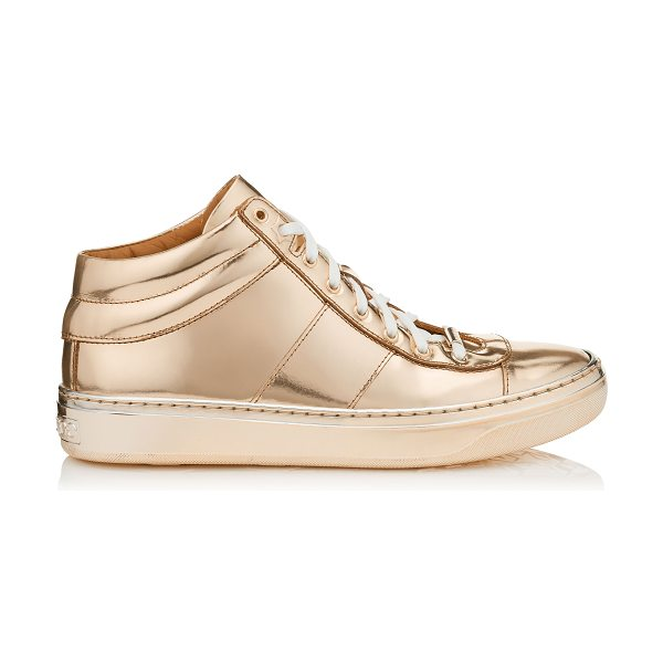 JIMMY CHOO Bells nude mirror leather trainers - A new trainer, that sits in between a high top and low...