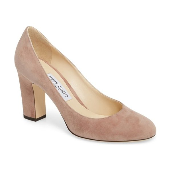 Jimmy Choo billie block heel pump in taupe brown - A sleek Italian pump features all the elements of a...