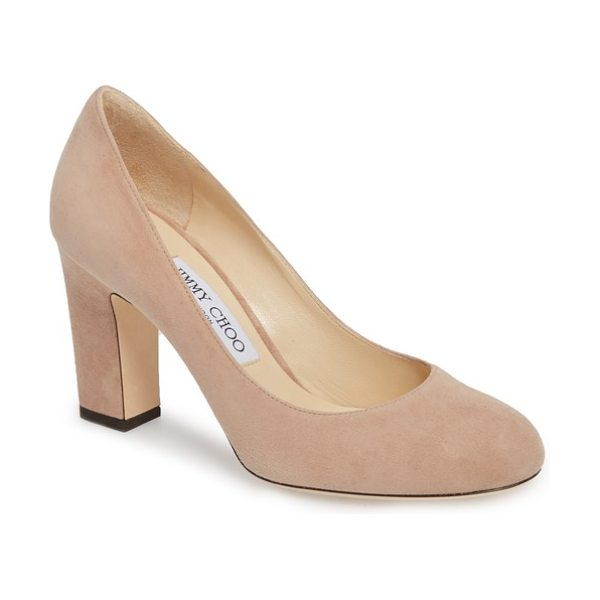 Jimmy Choo billie block heel pump in pink - A sleek Italian pump features all the elements of a...