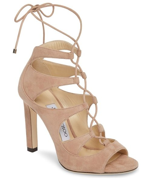 Jimmy Choo blake lace-up sandal in ballet pink - Ghillie-style lacing crisscrosses the open front of a...