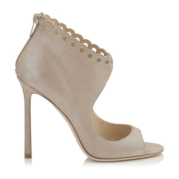Jimmy Choo BLYTHE 110 Sand Shimmer Suede Sandals in sand - Making at statement this season is Blythe in sand...
