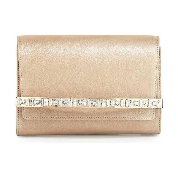JIMMY CHOO Bow Crystal-Bar Clutch Bag - Jimmy Choo napa leather clutch bag. Golden hardware....
