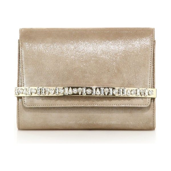 Jimmy Choo bow crystal-embellished shimmer suede clutch in sand - Shimmering suede clutch with lustrous crystal...