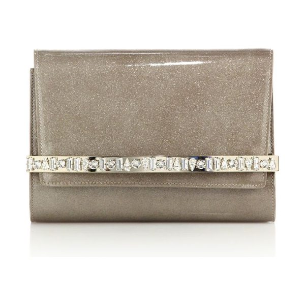 Jimmy Choo bow glittered & embellished patent leather clutch in sand - Lustrous leather design with faceted crystal detail....