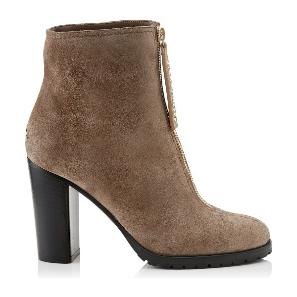 Jimmy Choo BRAYDEN 95 Stone Suede Booties in stone - Classic and sexy, Brayden in stone suede is a must-have...