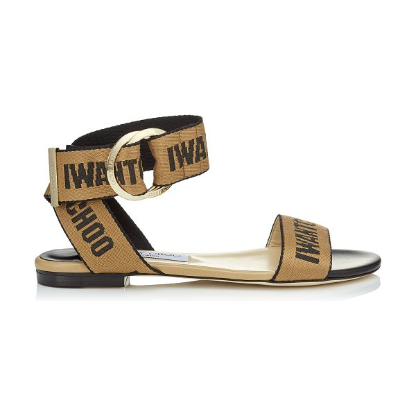 aef0d5f0537c JIMMY CHOO. Breanne Flat Black Nappa Leather Sandals With Nude And Black  Logo Tape