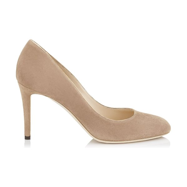 Jimmy Choo BRIDGET 85 Ballet Pink Suede Round Toe Pumps in ballet pink - Bridget in ballet pink suede, is a new pump of the Jimmy...