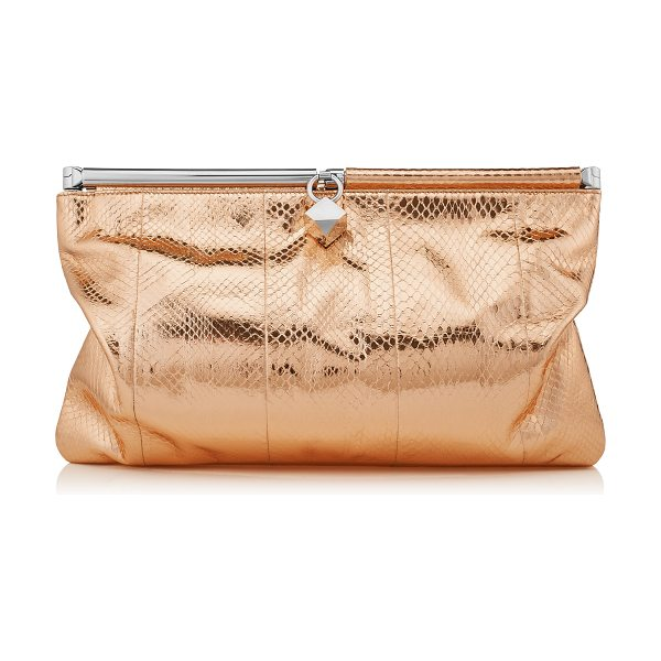 Jimmy Choo Cadence nude metallic water snake clutch bag in nude - A slouchy clutch bag that can take you from day to...