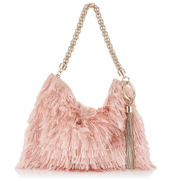 Jimmy Choo CALLIE Ballet Pink Satin Fringes Clutch Bag in ballet pink - Playing with texture and movement, Callie in ballet pink...