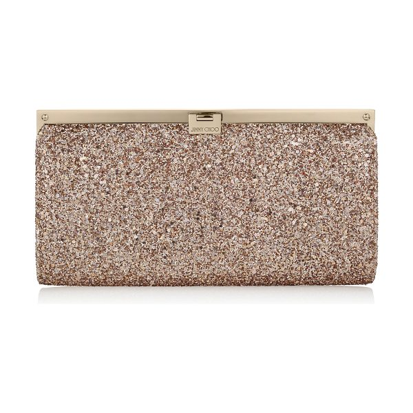 Jimmy Choo Camille nude shadow coarse glitter fabric clutch bag in nude - This strikingly beautiful clutch bag with a simple,...