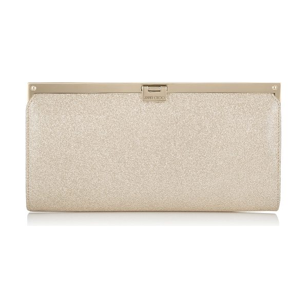 Jimmy Choo Camille nude textured metallic patent clutch bag in nude - This strikingly beautiful clutch bag with a simple,...