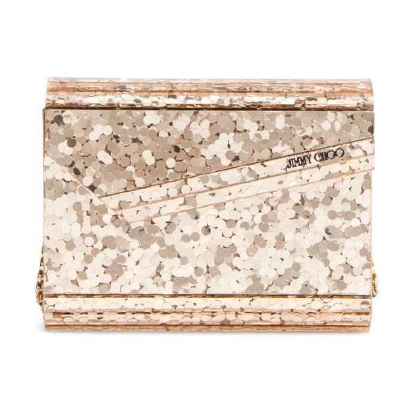 Jimmy Choo candy clutch in gold - A profusion of shimmering paillettes adds showstopping...