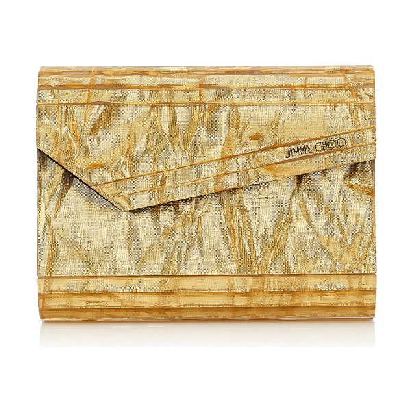 Jimmy Choo CANDY Gold Crinkled Lamé Fabric Acrylic Clutch Bag in gold - A decadent, compact gold crinkled lamé fabric acrylic...