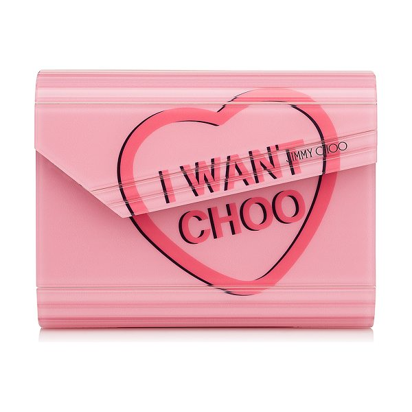 Jimmy Choo CANDY Love Heart Acrylic 'I WANT CHOO' Clutch Bag in camellia
