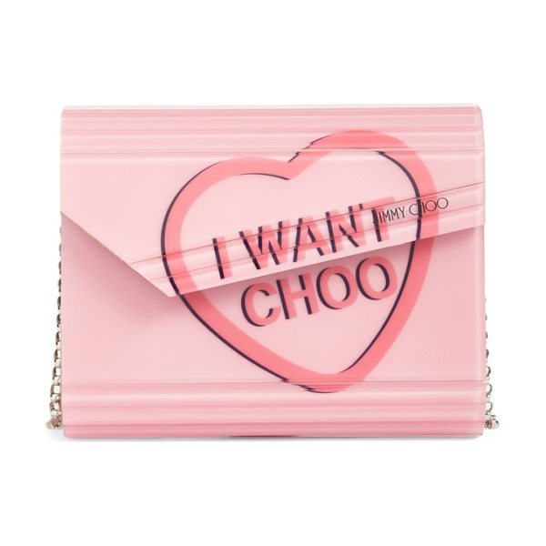 Jimmy Choo candy love heart clutch in camellia - An iconic clutch channels nostalgic glamour with a logo...