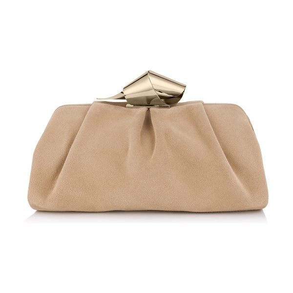 JIMMY CHOO Cara nude suede clutch bag - A large slouchy clutch bag, with a gently sculpted metal...