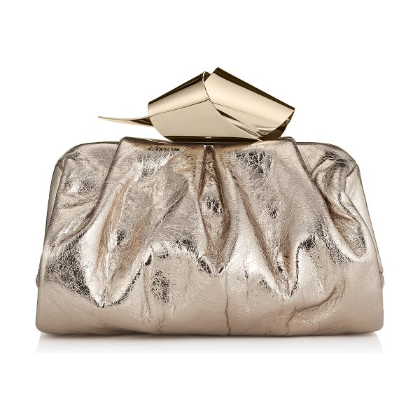 Jimmy Choo Cara/s nude metallic crinkled lambskin slouchy clutch bag in nude - A slouchy clutch bag, with a gently sculpted metal clasp...