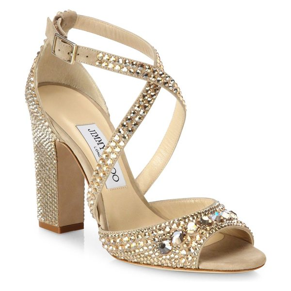 Jimmy Choo carrie 100 crystal-embellished suede block heel sandals in nude-tearose - EXCLUSIVELY AT SAKS FIFTH AVENUE. Glam...