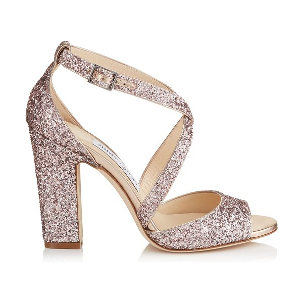 Jimmy Choo CARRIE 100 Tea Rose Metallic Coarse Glitter Fabric Peep Toe Sandals in tea rose - This peep toe sandal's chunky heel and thick crossover...
