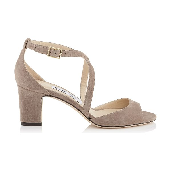 Jimmy Choo CARRIE 65 Light Mocha Suede Peep Toe Sandals in light mocha - This peep toe sandal's chunky heel and thick crossover...