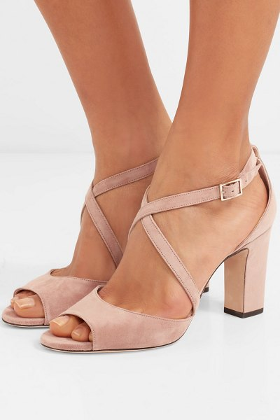 Jimmy Choo carrie 85 suede sandals in neutral - Jimmy Choo's 'Carrie' sandals have slim crossover straps...
