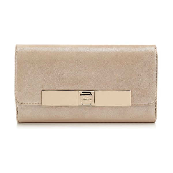 Jimmy Choo Cat sand shimmer suede evening bag in sand - A soft evening flap bag featuring an elegant Jimmy Choo....