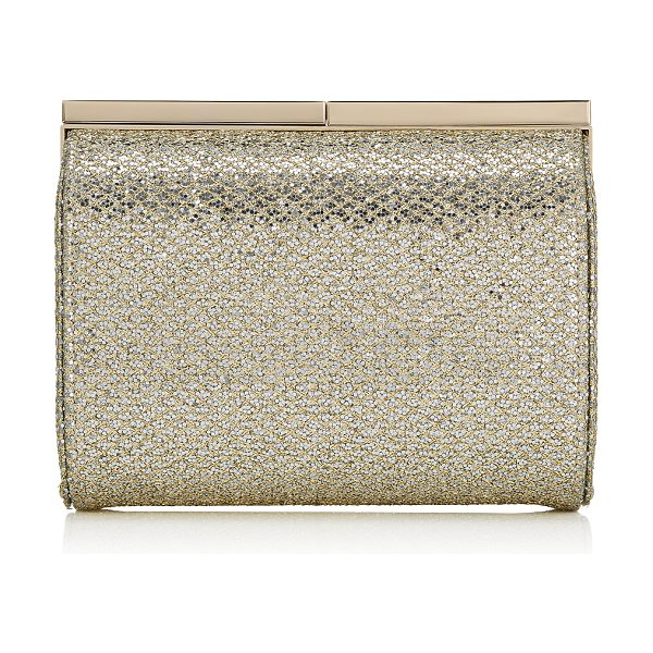JIMMY CHOO CATE Champagne Glitter Fabric Clutch Bag - This new style combines innovative detailing and a sleek...