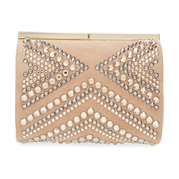 Jimmy Choo Cate crystal embellished minaudiere in nude - Mixed-scale crystals in warm, neutral hues lend Art-Deco...