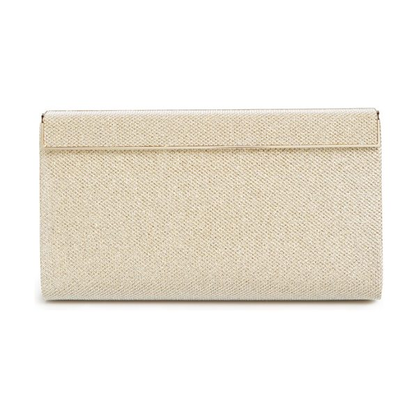 Jimmy Choo Cayla lame glitter clutch in gold - Etched logos add understated branding to the goldtone...