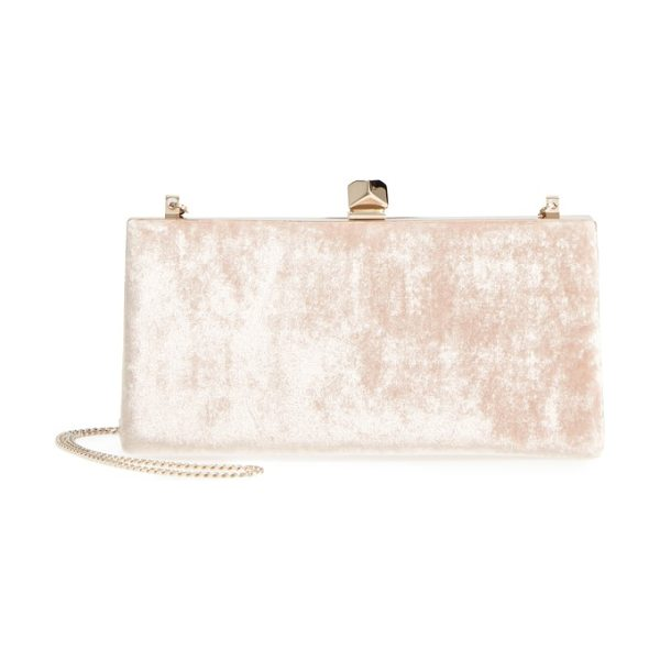 Jimmy Choo celeste crushed velvet clutch in dusty rose - A geometric, crystal-embellished clasp punctuates this...