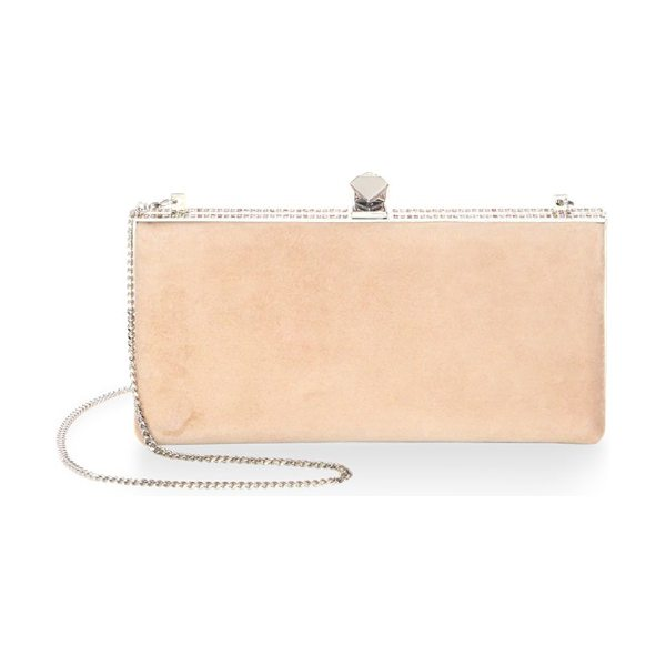 JIMMY CHOO celeste crystal and suede clutch - Soft suede rectangle clutch with crystal-trimmed frame....