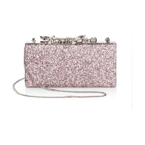 Jimmy Choo celeste metallic coarse glitter clutch in tea rose - Striking glitter clutch with Jimmy Choo crystal clasp....