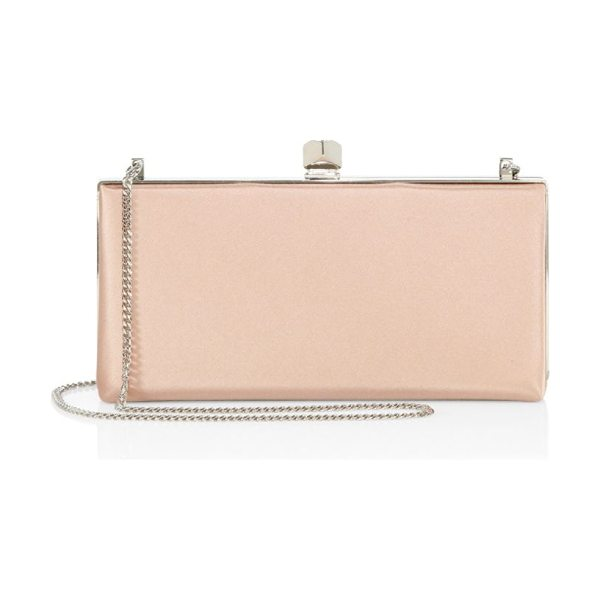 JIMMY CHOO celeste satin clutch in dustyrose - EXCLUSIVELY AT SAKS FIFTH AVENUE. Elegant satin frame...