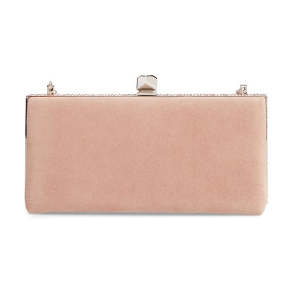 JIMMY CHOO celeste suede clutch - Glimmering crystals illuminate the clean, classic...