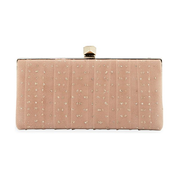 Jimmy Choo Celeste's Framed Glitter Tulle Clutch Bag in ballet pink/gold - Jimmy Choo clutch bag in glittered tulle-wrapped suede....