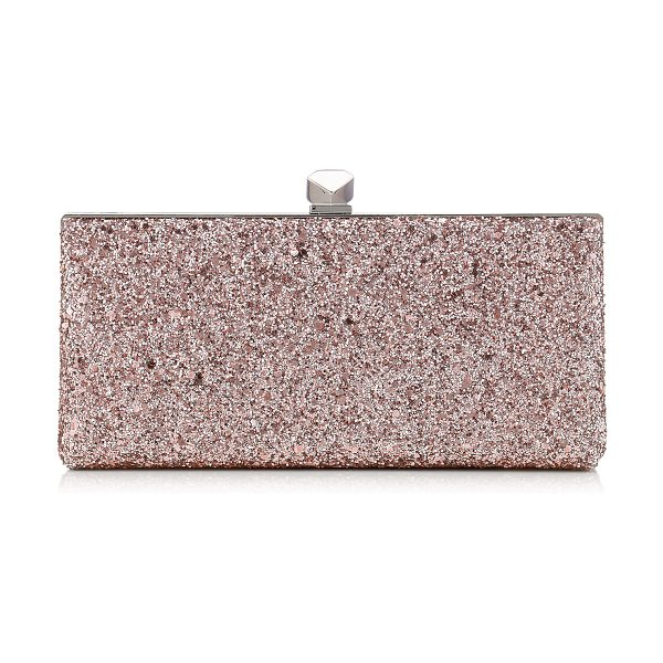 Jimmy Choo CELESTE/S Tea Rose Metallic Coarse Glitter Fabric Clutch Bag with Cube Clasp in tea rose - A strikingly modern clutch bag with a sleek silhouette....