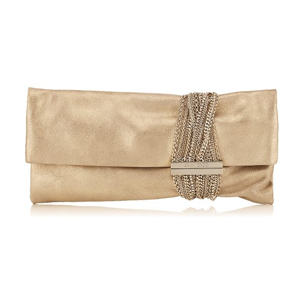 JIMMY CHOO CHANDRA Gold Shimmer Suede Clutch Bag in gold - Metallic Shimmer Suede is a contemporary way to wear...