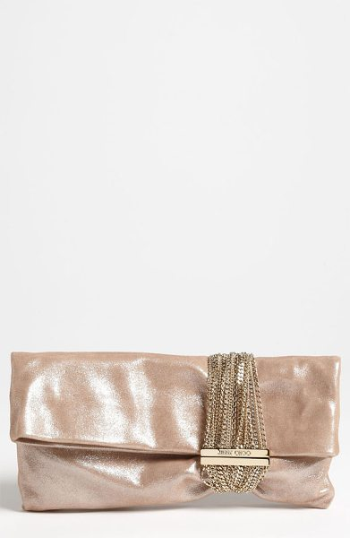 JIMMY CHOO Chandra leather clutch - Soft, supple leather glazed in sparkling sheen composes...