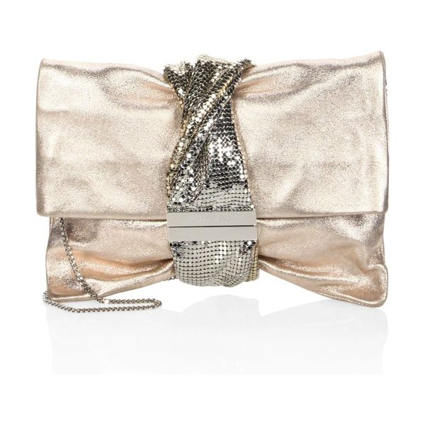 Jimmy Choo chandra metallic ballet clutch in ballet pink - Ballet clutch wrapped with metallic mesh band. Removable...