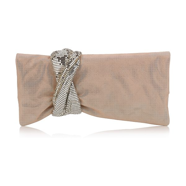 JIMMY CHOO CHANDRA Sand Shimmer Suede Clutch Bag with Chainmail Bracelet - An innovative, asymmetric shaped shimmer suede clutch...