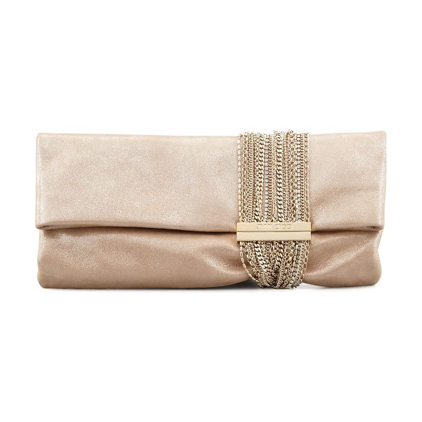 Jimmy Choo Chandra Shimmer Suede Chain Clutch Bag in champagne - Shimmery sheepskin suede with golden chain and crystal...