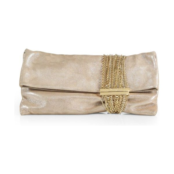 JIMMY CHOO chandra shimmer suede chain clutch - A myriad of chains in various shapes and sizes adorn...