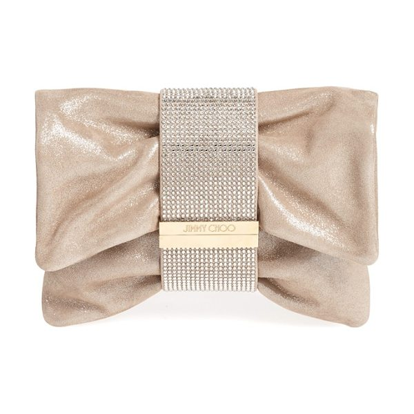 Jimmy Choo Chandra shimmer suede clutch in sand - An enviable clutch crafted in shimmery metallic suede is...