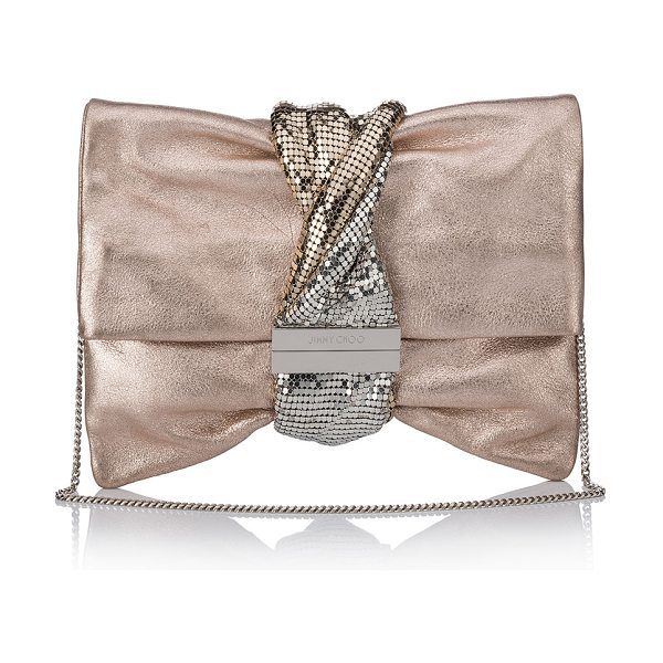 Jimmy Choo Chandra/M Metallic Clutch Bag in light pink - Jimmy Choo leather clutch bag with twisted chainmail...