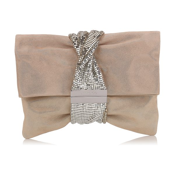 JIMMY CHOO CHANDRA/M Sand Shimmer Suede Clutch Bag with Chainmail Bracelet - An innovative, asymmetric shaped clutch bag, created by...