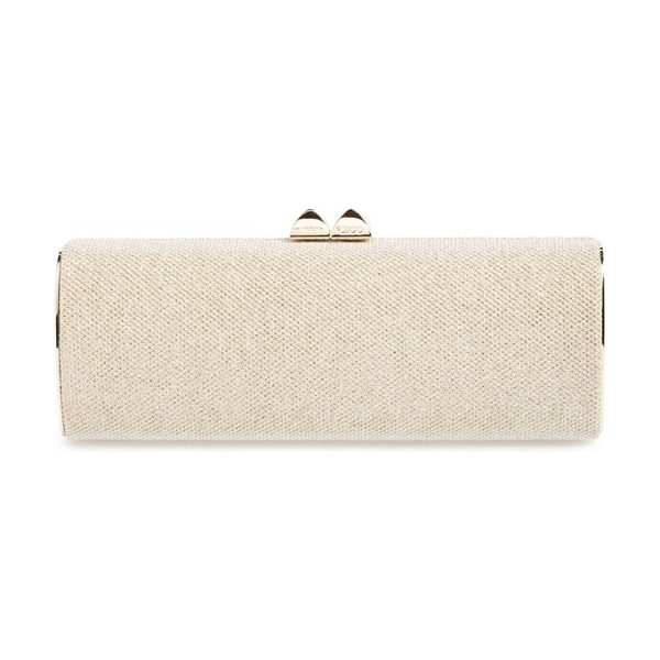 Jimmy Choo Charm lame glitter clutch in gold - Luminescent metallic lame shapes a stunning, streamlined...