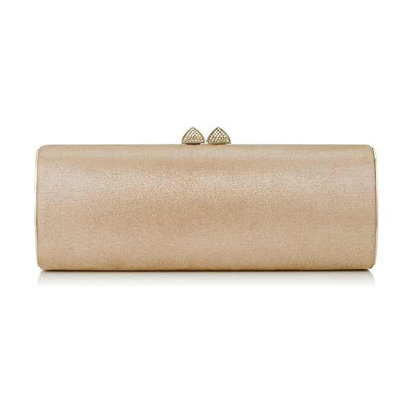 Jimmy Choo Charm sand shimmer suede tube clutch bag with hotfix crystals in sand - This elegant tubular shaped clutch bag is sleek and...