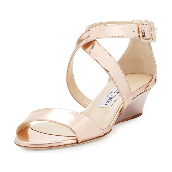 "Jimmy Choo Chiara Mirrored Crisscross Wedge Sandal in rose gold - Jimmy Choo metallic mirrored leather sandal. 1.5""..."